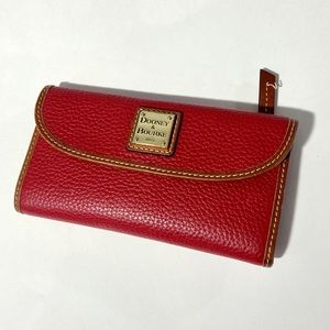 Dooney & Bourke Red Leather Clutch Wallet